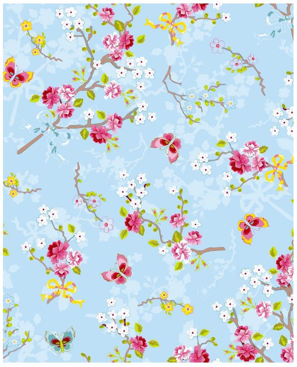 pip studio tapete chinese rose blue 375071 schmetterling tapeten kindertapeten. Black Bedroom Furniture Sets. Home Design Ideas
