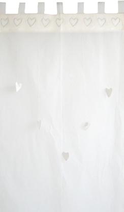 taftan vorhang herzen weiss | gardinen / vorhänge | kinderzimmer ... - Gardine Kinderzimmer Weis