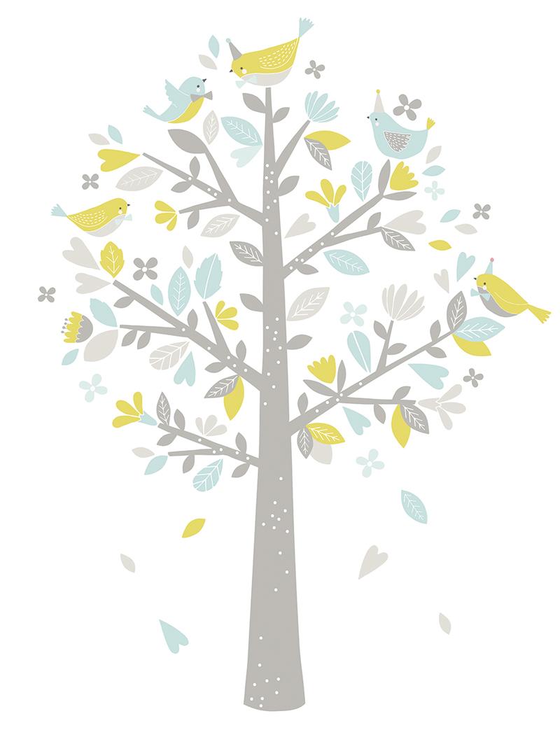 Schön Wandsticker Baum Referenz Von Lilipinso Frühlingsbaum Mit Vögeln Pastell Blau Lime