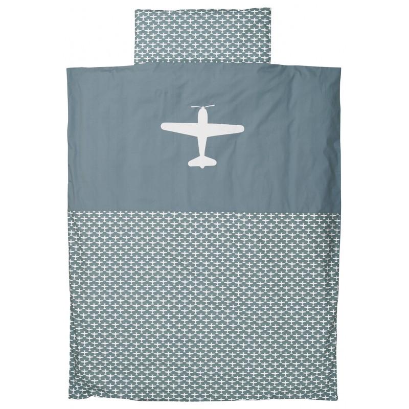 taftan bettw sche flugzeuge graublau 140x200cm bettw sche jungen jugendzimmer kidz biz. Black Bedroom Furniture Sets. Home Design Ideas